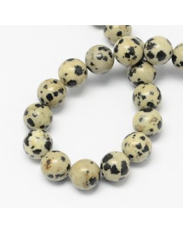 Natural Dalmatian Jasper Stone Bead Strands, Round, 8mm, Hole: 1mm; about 48pcs/strand, 14.9""