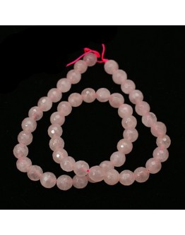 Natural Rose Quartz Beads Strands, Faceted, Round, 8mm, Hole: 1mm