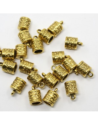 Tibetan Silver Pendants, Lead Free and Cadmium Frees, Tubbish, Antique Golden, about 13mm long, 8.5mm thick,hole: 6mm