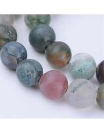 """Natural Indian Agate Beads Strands, Frosted, Round, 10~10.5mm, Hole: 1.2mm; about 36pcs/strand, 15.5"""""""