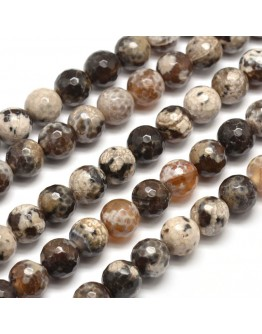 Dyed Natural Agate Faceted Round Beads Strands, Camel, 10mm, Hole: 1mm; about 38pcs/strand, 15""