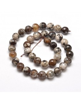 """Dyed Natural Agate Faceted Round Beads Strands, Camel, 10mm, Hole: 1mm; about 38pcs/strand, 15"""""""