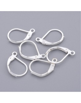 Brass Lever Back Hoop Earrings, Lead Free and Cadmium Free, Silver Color, Size: about 10mm wide, 15mm long, hole: 1mm
