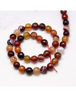 Natural Striped Agate Beads Strands, Faceted, Dyed, Round, Mixed Color, 10mm, Hole: 1.2mm
