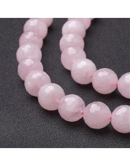 Natural Rose Quartz Beads Strands, Faceted, Round, Pink, 12mm, Hole: 1mm