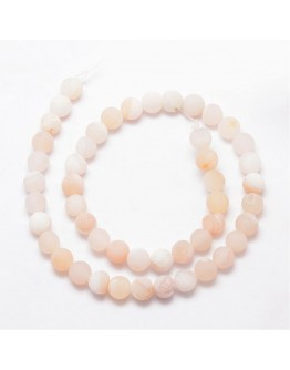 Natural Agate Bead Strands, Frosted, Round, Dyed & Heated, NavajoWhite, 10mm, Hole: 1mm; about 37pcs/strand, 15""