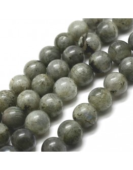 Natural Labradorite Bead Strands, Round, 10mm, Hole: 1mm; about 38pcs/strand, 15''