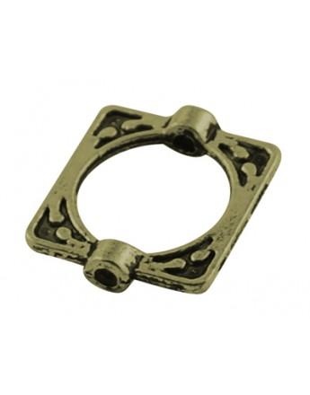 Tibetan Style Alloy Bead Frames, Lead Free & Cadmium Free, Rectangle, Antique Bronze, 16x14x3mm