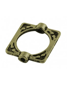 Tibetan Style Alloy Bead Frames, Lead Free & Cadmium Free, Rectangle, Antique Bronze, 16x14x3mm