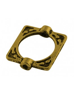 Tibetan Style Alloy Bead Frames, Lead Free & Cadmium Free, Rectangle, Antique Golden, 16x14x3mm