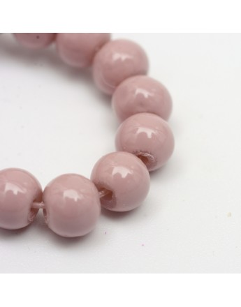 """Painted Glass Bead Strands, Baking Paint, Round, RosyBrown, 10mm; Hole: 1.3~1.6mm, about 80pcs/strand, 31.4"""""""