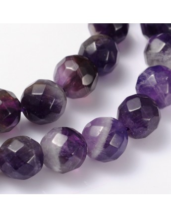 """Gemstone Strands, Faceted Round, Amethyst, Bead: about 8mm in diameter, hole: 0.8mm; 15"""", 48pcs/strand"""