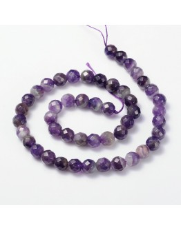 "Gemstone Strands, Faceted Round, Amethyst, Bead: about 8mm in diameter, hole: 0.8mm; 15"", 48pcs/strand"