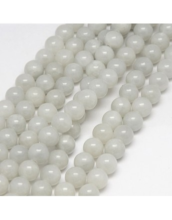 """Natural Yellow Jade Beads Strands, Dyed, Round, Gainsboro, 8mm, Hole: 1mm; about 50pcs/strand, 15.75"""""""
