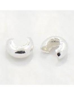 Iron Crimp Beads Covers, Cadmium Free & Nickel Free & Lead Free, Silver, 3mm; Hole: 1.2~1.5mm