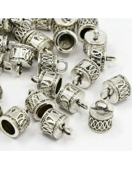 Tibetan Silver Cord Ends, Lead Free and Cadmium Free, Antique Silver Color, about 14.5mm long