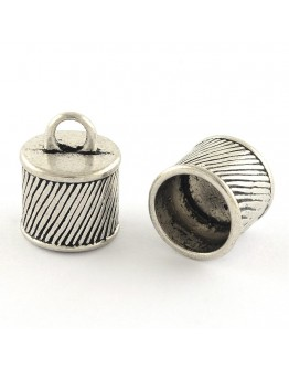 Tibetan Style Alloy Cord Ends, Lead Free & Cadmium Free, Antique Silver, 15.5x12mm, Hole: 3.5mm; about 290pcs/1000g
