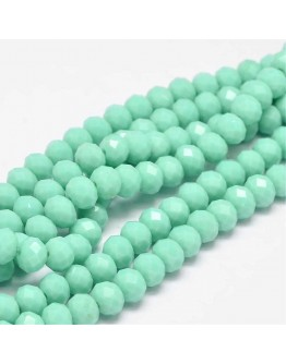 Glass Beads Strands, Faceted Abacus , Aquamarine, 8x6mm, Hole: 1mm; about 72pcs/strand, 17""