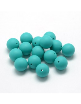 Maistinio silikono karoliukai, apvalūs, žalsvai mėlynos spalvos, matmenys: 14~15mm diametro, skylė: 2mm