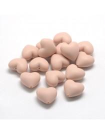 Maistinio silikono karoliukai, širdelės formos,  kreminės žalsvos spalvos, matmenys: 19x20x12mm, skylė: 2mm