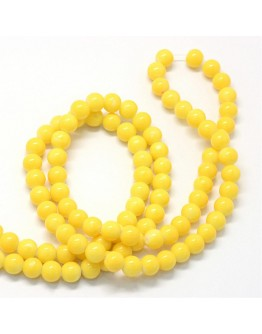 """Baking Painted Glass Round Bead Strands, Yellow, 8.5~9mm, Hole: 1.5mm; about 105pcs/strand, 31.8"""""""