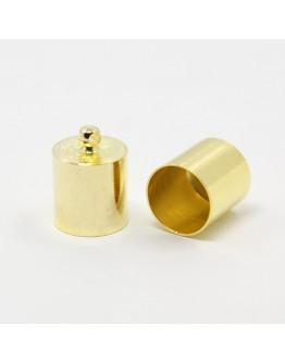 Žalvarinis aukso spalvos antgalis, matmenys: 14x10mm, skylė: 1mm; vidinis diametras: 9mm