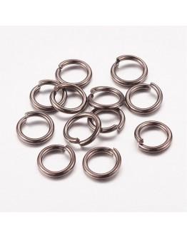 Tamsinto metalo spalvos jungimo žiedai, matmenys: 7mm diametro, 1mm storio, vidinis diametras - 5mm, 30vnt./pak.