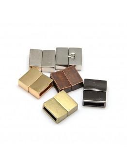 Stačiakampio formos magnetinis užsegimas, tamsinto metalo spalvos, matmenys: 18x16x6mm, skylė: 3x13mm