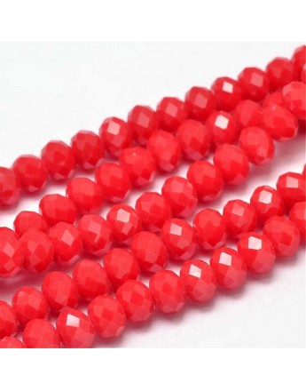 Glass Beads Strands, Faceted Abacus , Red, 8x6mm, Hole: 1mm; about 72pcs/strand, 17""