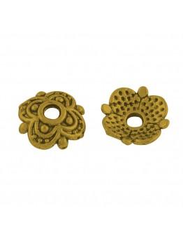 Sendinto aukso spalvos kepurėlės karoliukams, be švino, matmenys: 8x8x2mm, skylė: 1.5mm; 10 vnt./pak.
