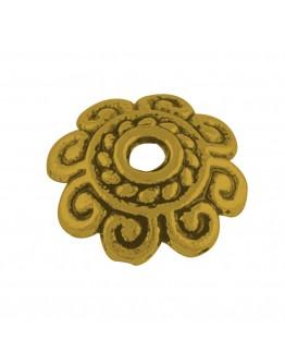 Sendinto aukso spalvos kepurėlės karoliukams, be švino, matmenys: 8x2mm, skylė: 1.5mm; 10vnt./ pak.