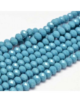 Glass Beads Strands, Faceted Abacus , SteelBlue, 8x6mm, Hole: 1mm; about 72pcs/strand, 17""