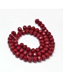 """Glass Beads Strands, Faceted Abacus , DarkRed, 8x6mm, Hole: 1mm; about 72pcs/strand, 17"""""""