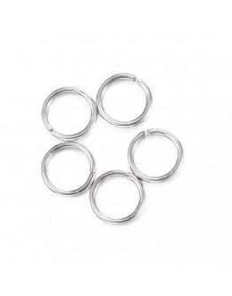 Sidabro spalvos žalvariniai jungimo žiedai, atidaromi, matmenys: ~7mm diametro, 1mm storio; ~5mm vidinis diametras, 30vnt./pak.