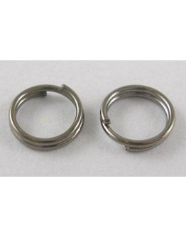 Tamsaus metalo spalvos, jungimo žiedai, dvigubi, be nikelio, matmenys: 6mm diametro, 0.7mm storio; apie 4.6mm vidinio diametro,