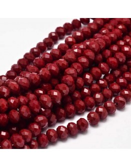 Glass Beads Strands, Faceted Abacus , DarkRed, 8x6mm, Hole: 1mm; about 72pcs/strand, 17""