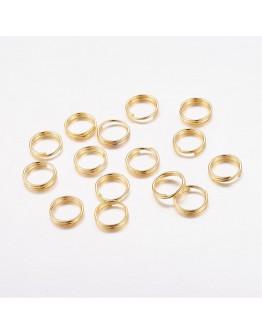 Aukso spalvos, geležiniai jungimo žiedai, dvigubi, matmenys: 7x0.7mm; vidinis diametras ~5.6mm; 30vnt./pak.