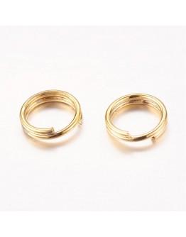 Aukso spalvos, geležiniai jungimo žiedai, dvigubi, matmenys: 6x0.7mm; vidinis diametras ~4.6mm; 30vnt./pak.