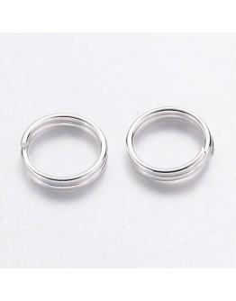 Sidabro spalvos, geležiniai jungimo žiedai, dvigubi, matmenys: 6x0.7mm; vidinis diametras ~ 4.6mm; 30 vnt./pak.