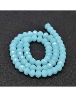 Glass Beads Strands, Faceted Abacus , LightSkyBlue, 8x6mm, Hole: 1mm; about 72pcs/strand, 17""