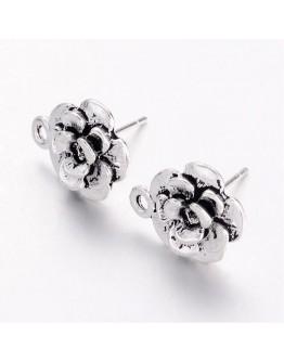 Sendinto sidabro spalvos, auskarų ruošiniai, gėlytės formos, be švino ir kadmio, matmenys: ~14x11.5mm pločio, smeigtukas: 1mm; 4