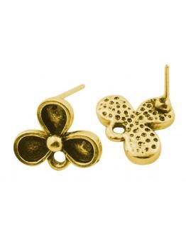Sendinto aukso spalvos auskarų ruošiniai, be nikelio, matmenys: ~14mm ilgio, 12mm pločio, 2.5mm storio, smeigtukas: 0.8mm storio